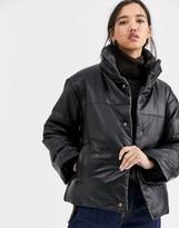 Muu Baa Muubaa leather padded jacket with funnel neck