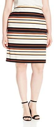Nine West Women's Plus Size Pinstripe Crepe Skirt