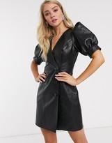 Asos Design DESIGN leather look puff sleeve button through mini dress in black