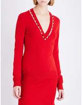 Givenchy Faux pearl-embellished V-neck knitted jumper