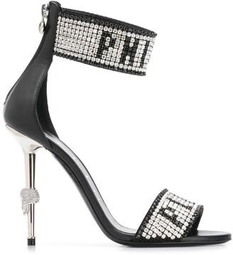 Philipp Plein Crystal logo sandals