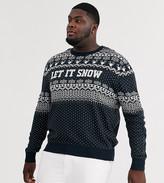 Jack & Jones Originals Christmas fairisle knitted jumper in navy