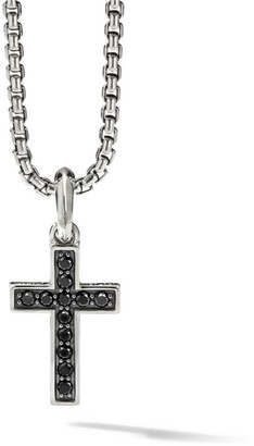 David Yurman The Pave Collection Sterling Silver & Pave Black Diamond Cross Enhancer Pendant