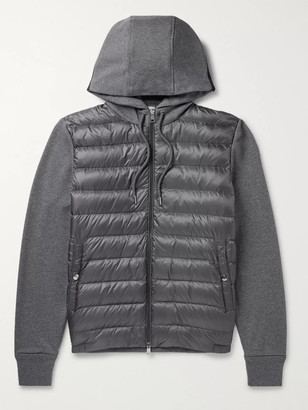 Moncler Pannelled Quilted Shell Down And Melange Cotton-Jersey Hooded Jacket