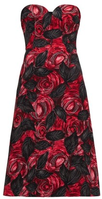 Prada Sweetheart-neckline Rose-print Cady Dress - Red Multi