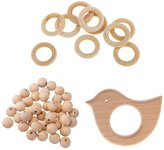 Dovewill 61pcs Wooden Baby Teether Bracelet Beads Teething Ring Play Chewing Toy DIY