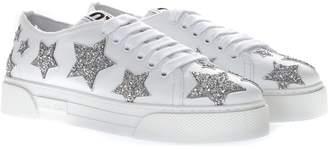 Miu Miu White Leather Glitter Stars Sneakers