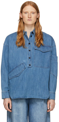 Tibi Blue Denim Oversized Cocoon Shirt