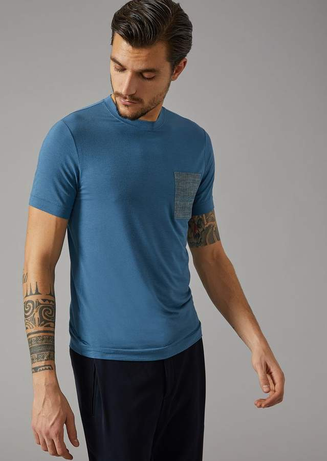 Giorgio Armani T-Shirt In Viscose With Breast Pocket