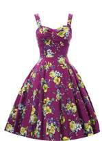 Shengdilu Women's Vintage 1950'S Strappy Swing Rockabilly Skaters Floral Print Party Dresses S
