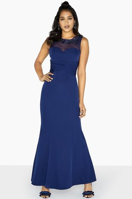Little Mistress Joni Embellished Yoke Sheath Dress