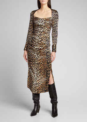 Ganni Leopard Print Ruched Satin Maxi Dress