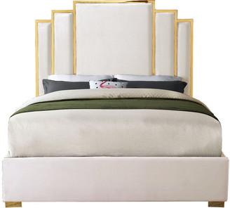 Meridian Furniture Hugo Cream Velvet King Bed, Cream