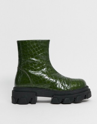CHIO extreme chunky ankle boots in green croc embossed leather