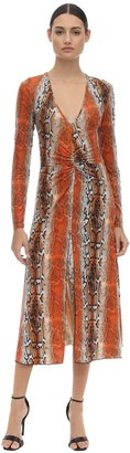 Rotate by Birger Christensen Shiny Printed Stretch Jersey Midi Dress