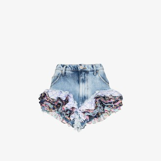 Natasha Zinko Womens Blue Ruffled Frayed Hem Denim Shorts