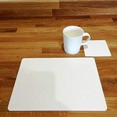 Placemats and Coasters - Rectangular and Square - White - 8 Set - Large