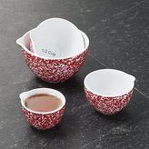 Crate & Barrel Red Spatterware Measuring Cups Set of Four