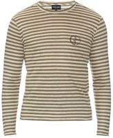 Giorgio Armani Logo-printed striped linen top