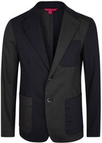 Barena Pinstriped Panelled Stretch Wool Blazer