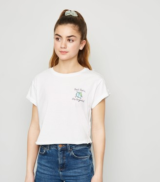New Look Girls Don't Panic World Slogan T-Shirt