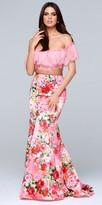 Tarik Ediz Prom Lace Off the Shoulder Floral Print Two Piece Mermaid Prom Dress