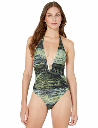 Vince Camuto Women's Plunge Halter one Piece Swimsuit with Hardware Detail
