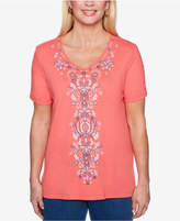 Alfred Dunner Sun City Embroidered V-Neck T-Shirt