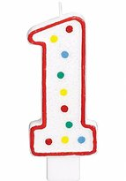 """Party Perfect Flat Molded Multicolored Polka Dot Number 1 Celebration Candle, White , 5"""" Wax"""