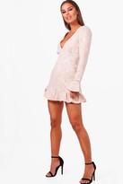 boohoo Petite Plunge Neck Drop Hem Lace Skater Dress
