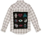 Butter Shoes Girls' Checked Flannel Zen Symbol Embellished Shirt - Sizes S-XL