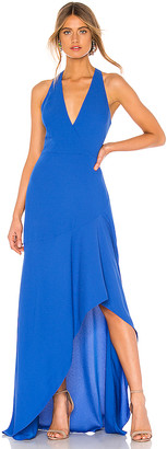 BCBGMAXAZRIA High Low Halter Gown
