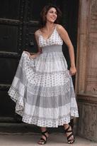 Unique Floral Cotton Patterned White and Grey Long Dress, 'Summer Breeze'