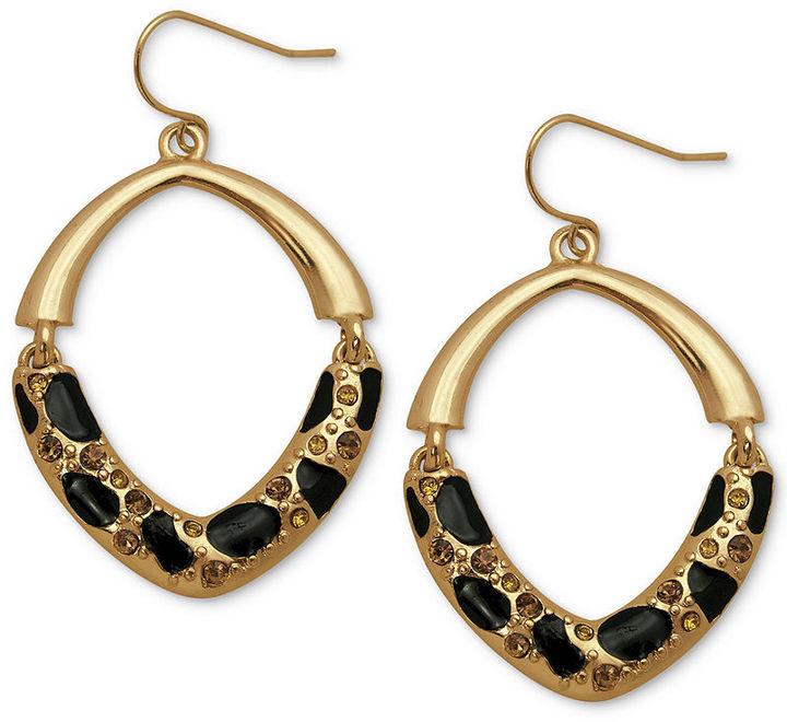GUESS Earrings, Gold-Tone Half-Cheetah Hoop Earrings