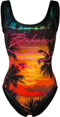 Balmain tropical logo print swimsuit