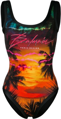 Balmain Tropical Logo Print Swimsuit