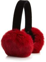 Adrienne Landau Rabbit Fur Ear Muffs, Red