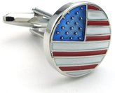Konov Jewelry 2pcs Mens US American Flag Shirts Cufflinks, Wedding