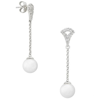Majorica Exquisite Faux-Pearl & Crystal Chain Drop Earrings