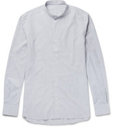 Caruso Slim-fit Grandad-collar Herringbone Cotton Shirt - Blue
