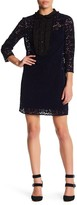 ABS by Allen Schwartz Ruffled Yoke Velvet Lace Shift Dress
