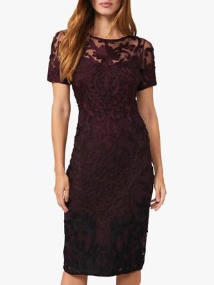 Phase Eight Kadie Tapework Lace Knee Length Dress, Wine