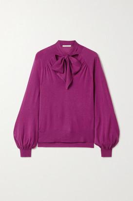 Jonathan Simkhai Pussy-bow Cashmere Sweater - Magenta