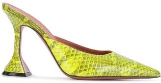 Amina Muaddi Fiona 105mm snakeskin-effect mules