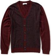 Turnbury Merino Wool Blend Color Block Windowpane Cardigan