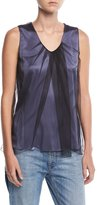 Brunello Cucinelli Sleeveless Scoop-Neck Satin Tank with Tulle Overlay