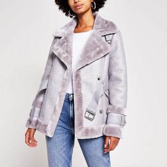 River Island Womens Grey belted faux shearling aviator jacket
