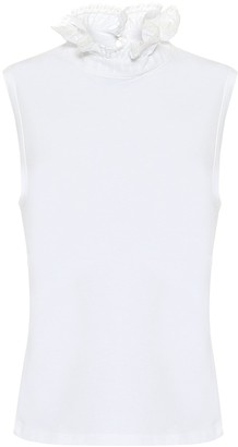 See by Chloe Ruffled cotton tank top