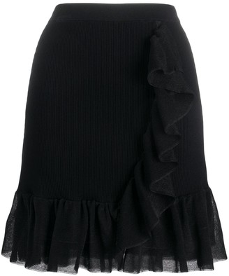 Sandro Paris Laurene ruffle trim skirt