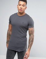 Religion Longline T-Shirt With Curved Hem And Rip Detail